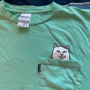 RIP N DIP SHIRT WITH CAT ON POCKET & STICKERS